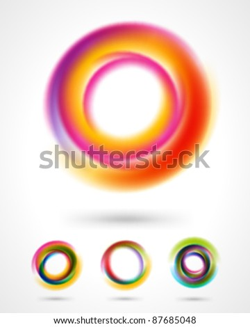 Abstract colorful circles design elements set. Eps 10.
