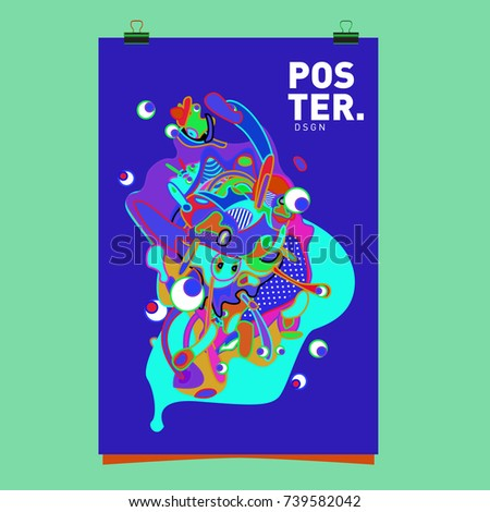 Abstract  Colorful Curvy Liquid Cover and Poster Design Template. Flat Bubble Shape Layout Design Composition and  Template.