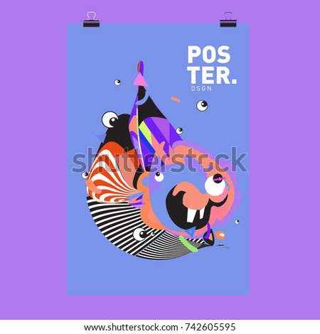 Abstract  Colorful Curvy Liquid Cover and Poster Design Template. Flat Line Shape and Pattern Layout Design Template. #742605595