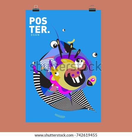 Abstract  Colorful Curvy Liquid Cover and Poster Design Template. Flat Line Shape and Pattern Layout Design Template. #742619455