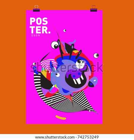Abstract  Colorful Curvy Liquid Cover and Poster Design Template. Flat Line Shape and Pattern Layout Design Template. #742753249