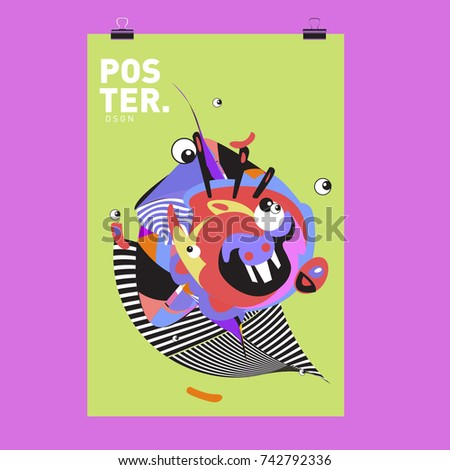 Abstract  Colorful Curvy Liquid Cover and Poster Design Template. Flat Line Shape and Pattern Layout Design Template. #742792336