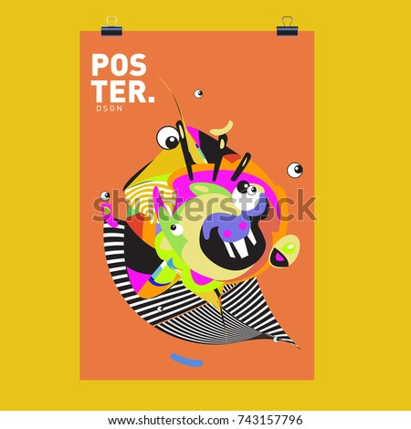 Abstract  Colorful Curvy Liquid Cover and Poster Design Template. Flat Line Shape and Pattern Layout Design Template.   #743157796