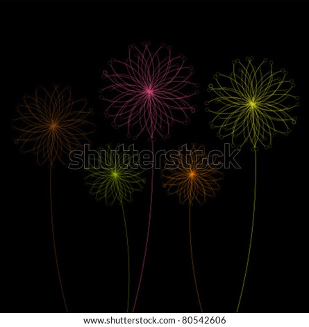 Abstract colorful dandelions flowers over black background. Vector illustration