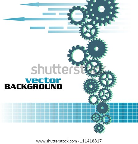 Abstract colorful design with blue gears connected between them