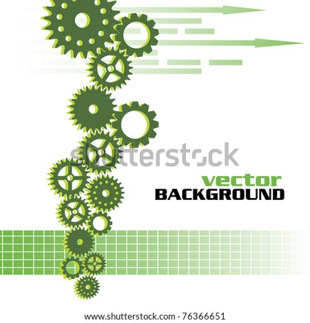 Abstract colorful design with various gears and green arrows. Motion concept
