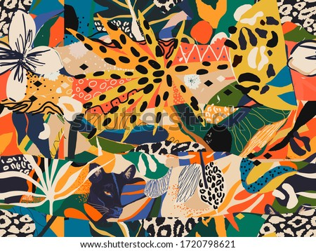 Abstract colorful exotic illustration pattern. Creative collage contemporary seamless pattern. Fashionable template for design. African style.