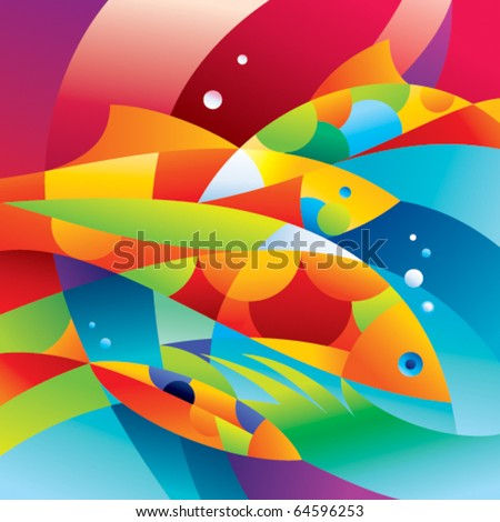 abstract colorful fishes near