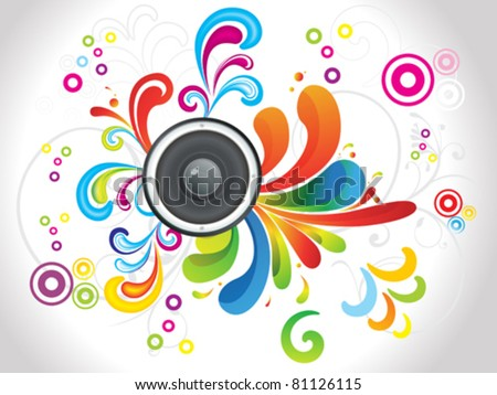 abstract colorful floral with sound vector illustration