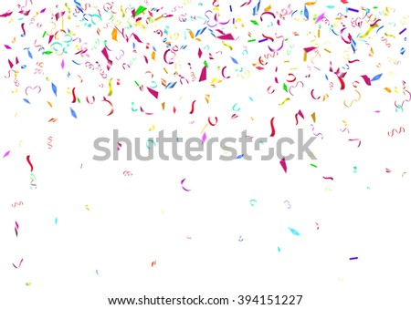 Abstract colorful flying confetti background. Isolated on the white background. Vector holiday illustration.