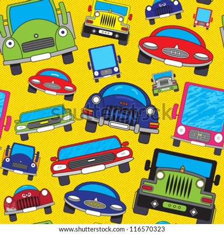 Abstract colorful funny cars print background. Seamless pattern. Vector