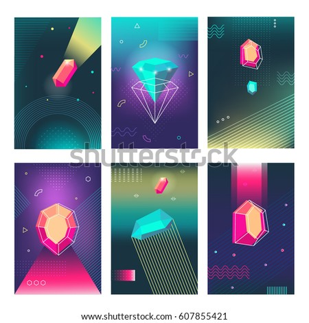 Abstract colorful futuristic galaxy posters, creative cards set with diamonds, prism shaped polygonal crystals, geometric shapes and patterns. Trendy hipster retro backgrounds in polygon style.