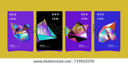Abstract colorful geometric cover and poster template. Set of typography layout design composition for event and publication. #719810590