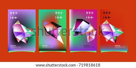 Abstract colorful geometric cover and poster template. Set of typography layout design composition for event and publication.