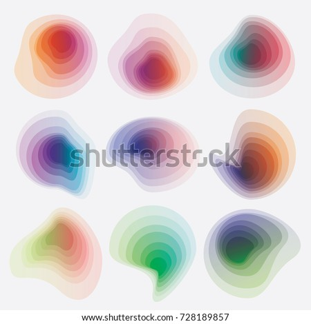 Abstract colorful gradient blob shapes collection