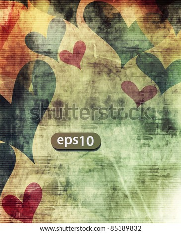 Abstract colorful grunge colorful heart background design.
