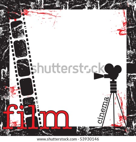 Abstract colorful grunge film frame with movie projector shape, filmstrip and the word film written with red letters
