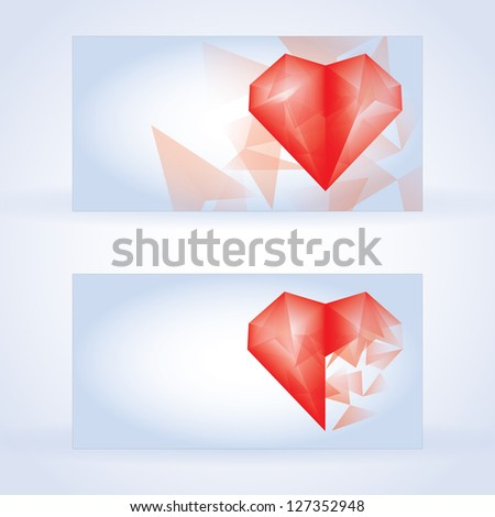 abstract colorful heart business card set vector design