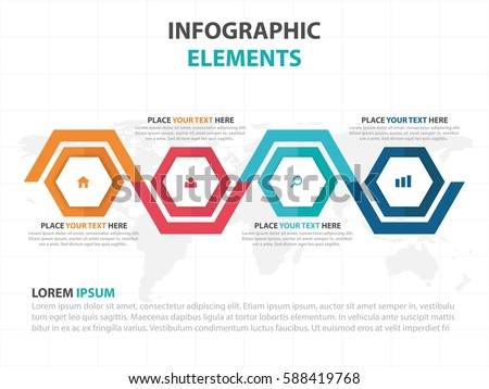 Abstract colorful hexagon business timeline Infographics elements, presentation template flat design vector illustration for web design marketing advertising