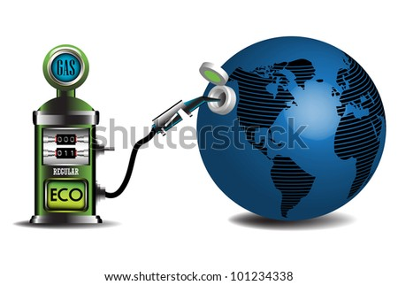 Abstract colorful illustration with a gas pump fueling the blue earth with ecological fuel. Alternative fueling concept