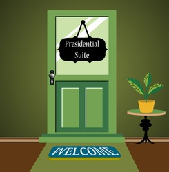 Abstract colorful illustration with a green door from a hotel and a black plate hanging with the text presidential suite