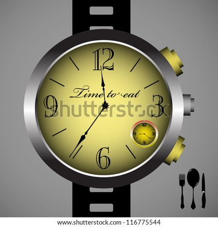 Abstract colorful illustration with a hand watch showing the lunch time. Time to eat concept