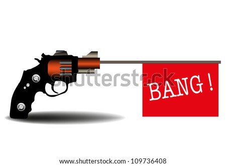 Abstract colorful illustration with a revolver shooting out a red flag on which is written the word bang. Toy firearm concept