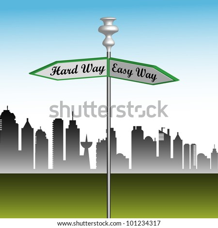 Abstract colorful illustration with a street indicator showing two directions the easy way and the hard way. Business metaphor