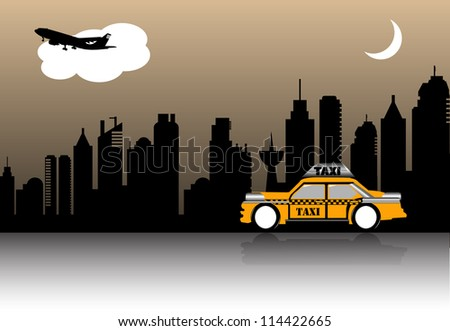 Abstract colorful illustration with a yellow cab crossing a city during the night
