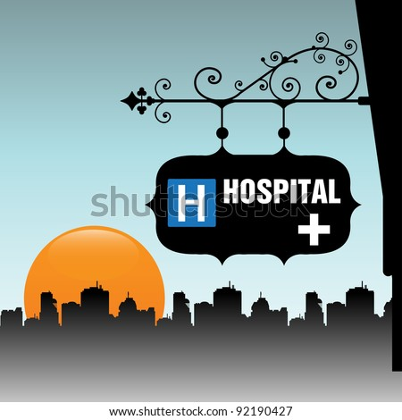 Abstract colorful illustration with an ancient hospital plate hanging from a building
