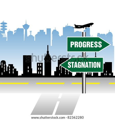 Abstract colorful illustration with an indicator in front of a street junction pointing the ways to progress and stagnation