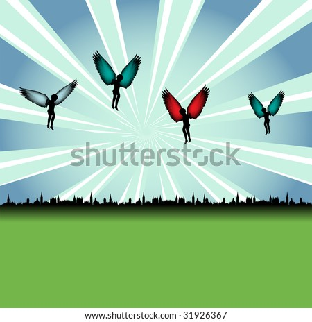 Abstract colorful illustration with angels flying above a city. Angels with colorful wings