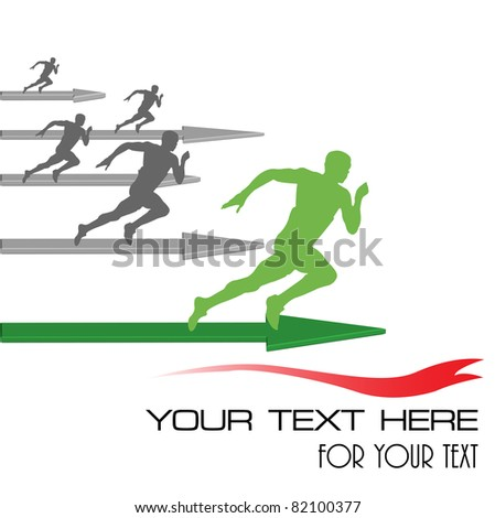 Abstract colorful illustration with athletes competing for the first position. Success in business concept