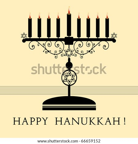 Abstract colorful illustration with black menorah with nine candles and the text Happy Hanukkah written under the candle holder