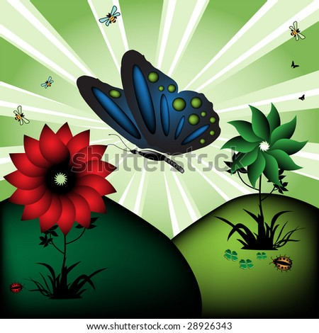 Abstract colorful illustration with blue butterfly, colored flowers, small ladybirds and bees