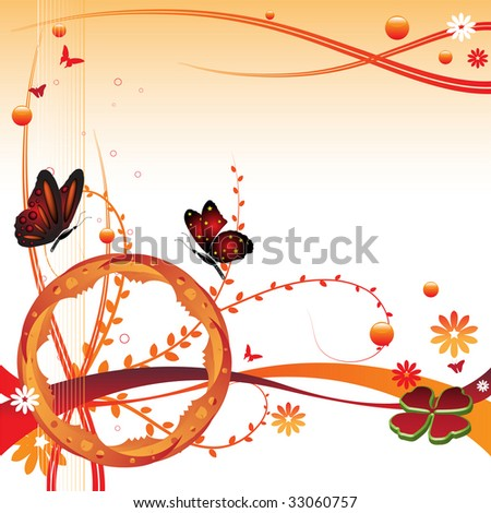 Abstract colorful illustration with butterflies, small flowers, clover shape and plant with small leaves