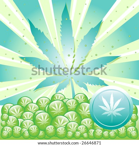 Abstract colorful illustration with cannabis leaf symbol. Marijuana concept