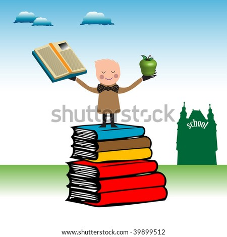 Abstract colorful illustration with child standing above huge books and holding an apple and a book in his hands. Back to school concept
