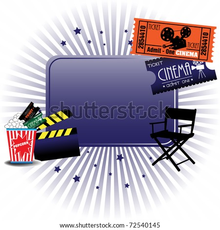 Abstract colorful illustration with cinema tickets, director chair, clapboard and popcorns