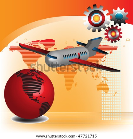 Abstract colorful illustration with colored gears, plane and red globe. Traveling concept