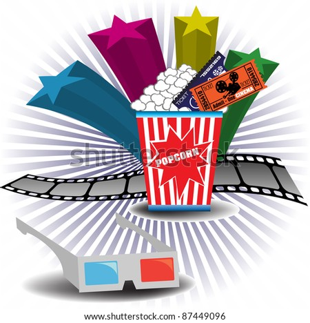 Abstract colorful illustration with colorful stars, 3D cinema glasses, filmstrip, popcorn and cinema tickets. Cinema theme