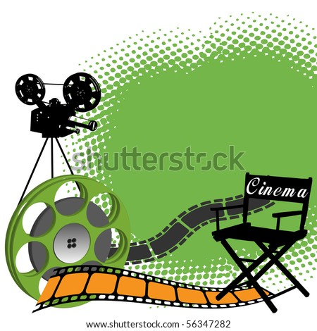 Abstract colorful illustration with director chair, filmstrip, film role and black movie projector shape. Cinema concept