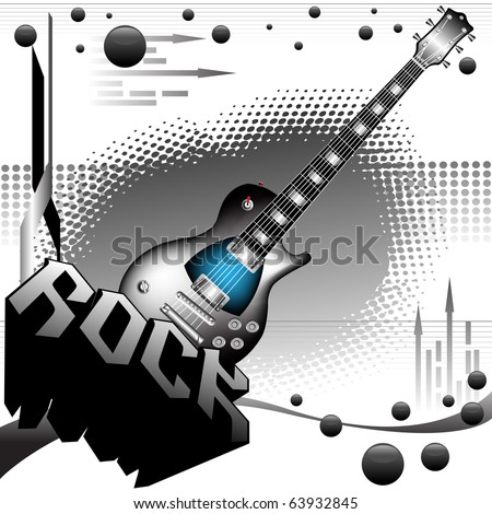 Abstract colorful illustration with electric guitar, black bubbles, abstract arrows and the word rock written with huge letters. Rock music theme
