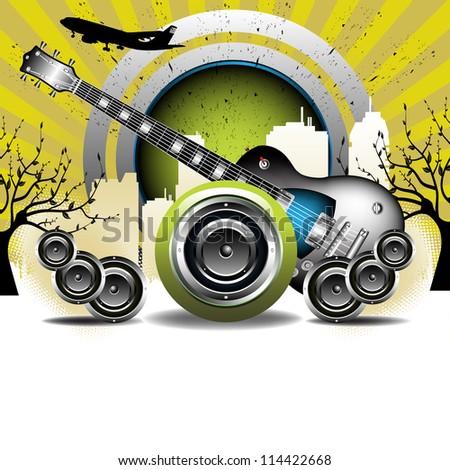 Abstract colorful illustration with electric guitar, loudspeakers and building shapes. Urban party concept