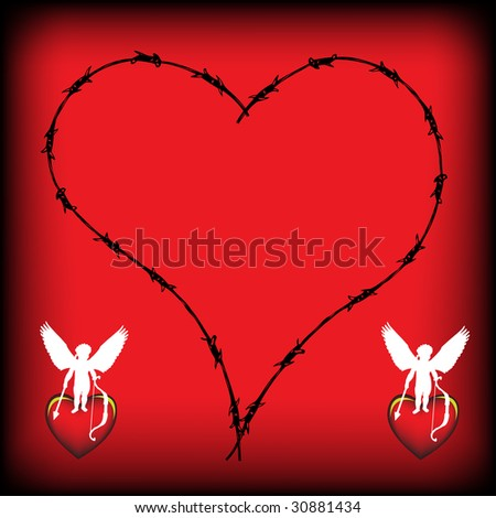 Abstract colorful illustration with heart shape made from barbed wire and two cupid silhouettes standing on red hearts