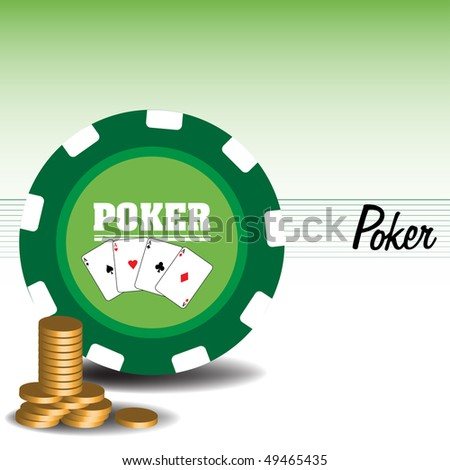Abstract colorful illustration with huge poker chip and golden coins. Poker game theme