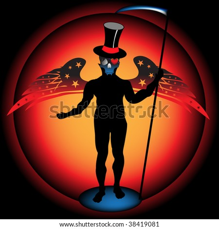 Abstract colorful illustration with human silhouette with skull head and wings, wearing a scythe in his hand - stock vector
