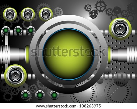 Abstract colorful illustration with metallic rounded green frame, green loudspeakers, cogwheels and various metallic elements. Technology background