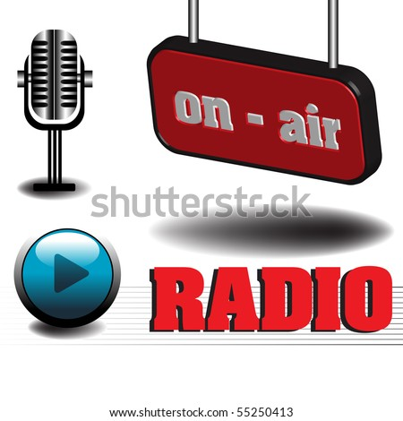 Abstract colorful illustration with microphone, play button and the text on air written on a red plate. Radio theme