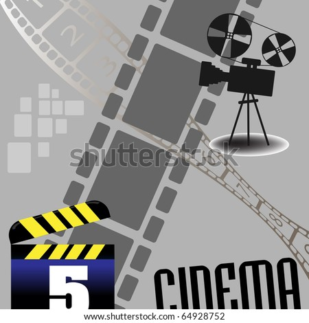 Abstract colorful illustration with movie projector, numbered filmstrip and clapboard. Cinema theme